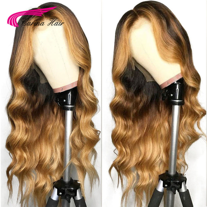 Carina Pre-Plucked Body Wave Lace Front Human Hair Wigs Human Remy Hair With Baby Hair T1B427# Ombre With Blonde Hightlights