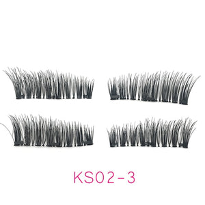 4pcs/pair 3 Magnetic Eyelashes 3D False Eyelashes With 3 Magnets Handmade Natural Lashes Extension With Gift Box