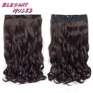 5 Clips On Wavy Thick Hairpiece Clip In Hair Extensions