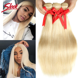 Sleek Mink Brazilian Hair Weave Bundles 10 To 26 Inches Straight Human Hair Extension Honey Blonde 613 Color Remy Hair Bundles