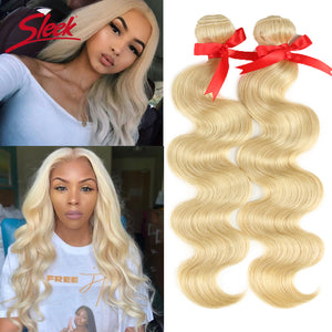 Sleek Colorful Hair Mink Brazilian Hair Weave Bundles10 To 26 Inches Honey Blonde 613 Color Body Wave Bunles Remy Hair Extension