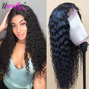 Upretty PrePlucked Deep Wave Wig Lace Front Human Hair Wigs 150 180 250 Density Glueless Remy Brazilian Lace Wigs With Baby Hair