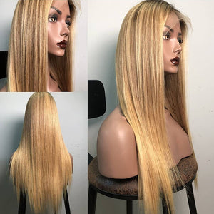 13*6 Blonde Straight Lace Front Human Hair Wigs Ombre Lace Front Wig