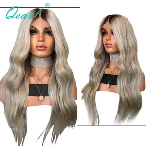 Human Hair Full Lace Wigs Ombre Ash Blonde Grey with Dark Roots Brazilian Remy Hair Natural Wave Pre Plucked Baby Hairs Qearl