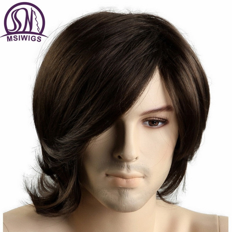 MSIWIGS Short Synthetic Men Wigs Heat Resistant Fiber Full Brown Color Straight Male Wig with Free Hairnet