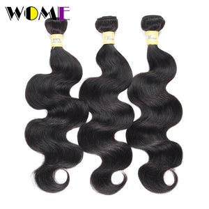 Wome Bodywave Bundles #1b& Natural Black Brazilian Human Hair Weave 3 Bundles 100% Non-remy Double Weft Hair Extensions 8-30inch
