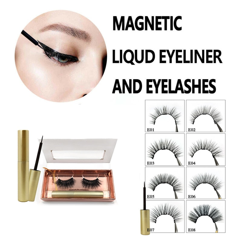 2019 Hot Magnetic Liquid Eyeliner & Magnetic False Eyelashes Set Fast Drying Easy to Wear Long-lasting Liquid Eyeliner TSLM1