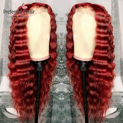 Preferred 13x6 Lace Front Wig Pre Plucked Hairline Brazilian Remy Deep Wave Wig Glueless Red Human Hair Wigs For Black Women