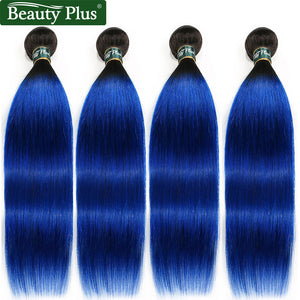T1b/Blue 100 Human Hair Extensions 4 Bundles Beauty Plus 10-26 inch 2 Tone Ombre Brazilian Straight Hair Weave 400g/Lot Non Remy