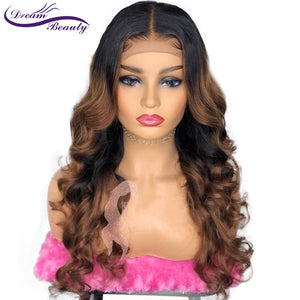 Colored 1b/30 Ombre Invisible Hd Lace Front Human Wig With Baby Hair PrePlucked Wavy Brazilian Highlight Remy Hair Dream Beauty