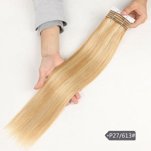 Sleek Straight Hair P6/613 Blonde P27/613 Brazilian Human Hair Bundles 1 Piece Only Remy Extensions Free Ship 113G Per Lot