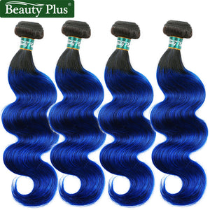 1B/Blue 100 Human Hair Extensions 4 Bundles Beauty Plus 10-26 inch 2 Tone Ombre Brazilian Body Wave Hair Weave 400g/Lot Non Remy
