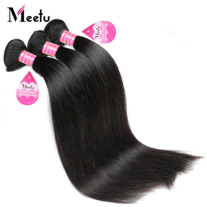 Meetu Malaysian Straight Hair Bundles 8-28 inch 100% Human Hair Extensions 3 Bundles Deal Non Remy Hair Bundles Shedding Free