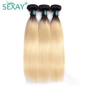 1B/613 Human Hair Weave Bundles Dark Roots Ombre Brazilian Straight Hair Extensions 613 Blonde Bundles SEXAY Remy Human Hair