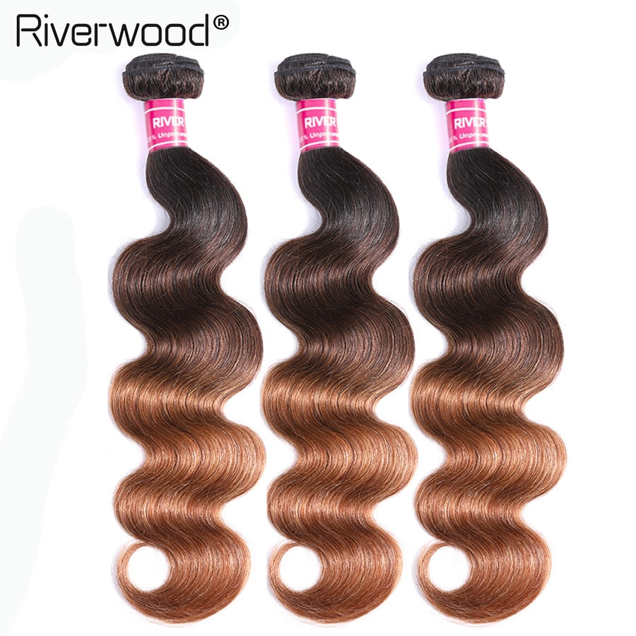 "Brazilian Body Wave Bundles 8""-28"" mixed 3/4 PCS Remy Ombre 1b/30 100% Human Hair Weave Bundles Hair Extensions Free Shipping"