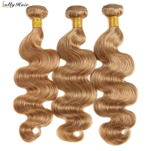 Light Brown Body Wave 3 Bundles Deals 27# Honey Blonde Brazilian Human Hair Weave Extensions 10-26 Free Shipping Lolly Non Remy