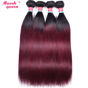 March Queen Brazilian Hair Weave Bundles T1B/99J Ombre Straight Human Hair 4 Bundles Black to Red Wine Color Hair Extensions