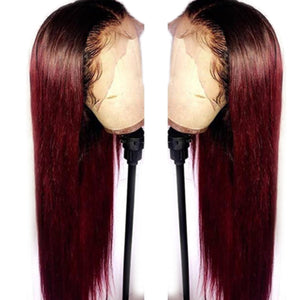 1B/99J Brazilian Straight Hair Lace Front Wigs Ombre Red 13x6 Remy Lace Front Human Hair Wigs Pre Plucked For Black Woman