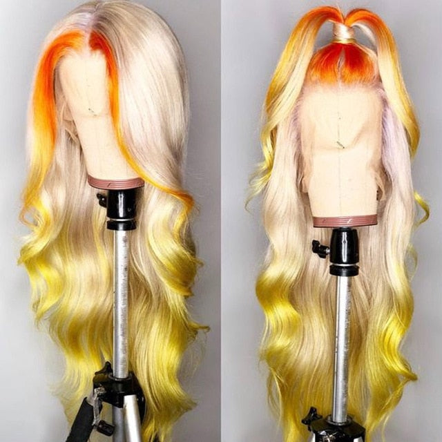 Customized 613 Lace Front Wig 180 Density Pre Plucked 613/Yellow Brazilian Body Wave Wig Human Hair Ombre Lace Frontal Wigs Remy