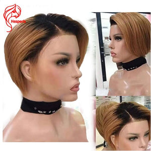 Hesperis Pixie Cut Wigs Brazilian Remy Ombre Lace Front Huan Hair Wigs With Baby Hair Bob Cut Lace Wigs Natural Black Summer