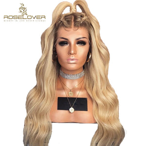 4/613 Wavy Lace Front Human Hair Wigs 150% Ombre Blonde Lace Front Wigs with Baby Hair Pre Plucked Brazilian Remy Hair Roselover