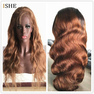 Body Wave 1B/30 Ombre Blonde Color 13x6 Deep Part Lace Front Human Hair Wigs Pre Plucked Remy Glueless Full Black End For Women