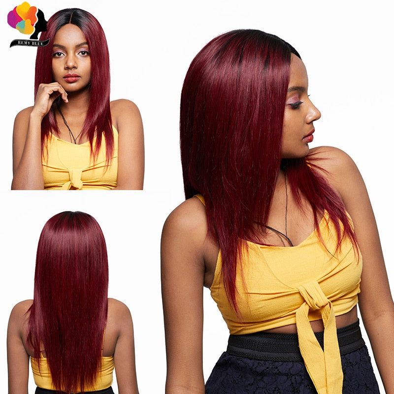 1B/99J Long Straight Lace Front Human Hair Wigs Ombre Burgundy Peruvian Remy Hair Wig For Women Remyblue 4*4 Lace Closure Wigs