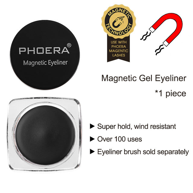 PHOERA Magnetic Liquid Eyeliner Gel for 3D Reusable Magnet False Eyelashes Mink Lashes Ultra-thin Extension Thick Makeup Tool