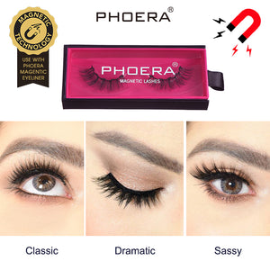 PHOERA 3D Reusable Magnet False Eyelashes Magnetic Eyeliner Mink Lashes Natural Ultra-thin Extension Thick Cross Makeup Tool