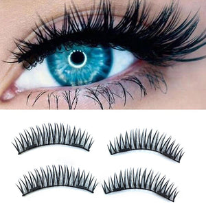 4PCS 3D Double Magnetic False Eyelashes Curved Concealed Natural Super Thin False Eyelashes