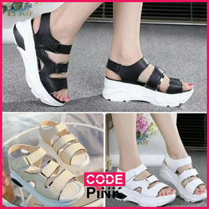 Beatrice Tri-Strap Wedge Sandals