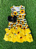 Bowtism Sunflower Ruffle Dress