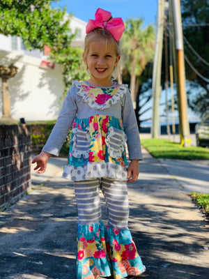 Bowtism Hello Spring Ruffle Pants Set with Matching Bow