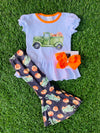Bowtism Harvest Truck Flare Pants Set with Matching Bow