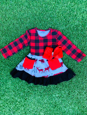 Bowtism Country Woods Plaid Dress with Matching Bow