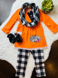 Bowtism Pumpkin Plaid Scarf Pants Set with Matching Bow