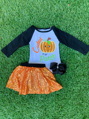 Bowtism Cutest Pumpkin Sparkle Skirt Set with Matching Bow