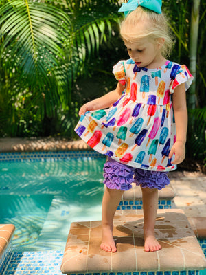 Bowtism Popsicle Ruffle Shorts Set with Matching Bow
