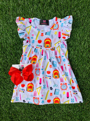 Bowtism A+ Flutter Dress with Matching Bow