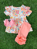 Bowtism Ava Floral Ruffle Shorts Set with Matching Bow