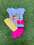 Bowtism Kindergarten Cutie Capri Set with Matching Bow