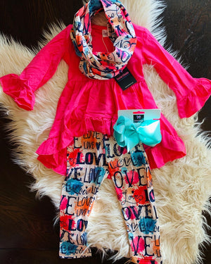 Bowtism Love Watercolor Scarf Pants Set With Matching Bow