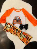 Bowtism Halloween Truck Pants Set with Matching Bow