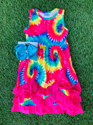 Bowtism Tie Dyed Ruffle Dress with Matching Bow