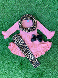 Bowtism Rose Cheetah Scarf Set with Matching Bow