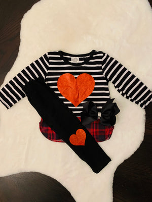 Bowtism Heart Pants Set with Matching Bow