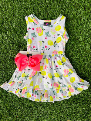 Bowtism Country Lemon Stretch Dress with Matching Bow