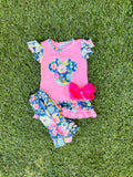 Bowtism Floral Disney Capri Set with Matching Bow