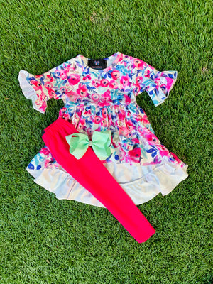 Bowtism Exclusive Fresh Floral Pants Set with Matching Bow