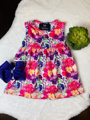 Bowtism Vibrant Summer Dress with Matching Bow